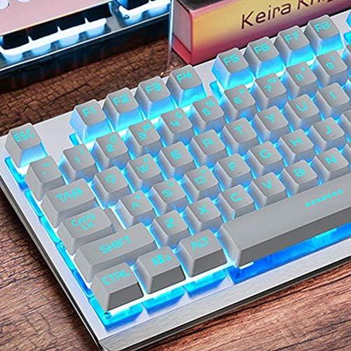 HourenJP Backlight Soft Tactile Keyboard Desktop Computer Notebook External USB Cable Metal Film Girl Office Typing Blue Lighting Peripheral Esports Game
