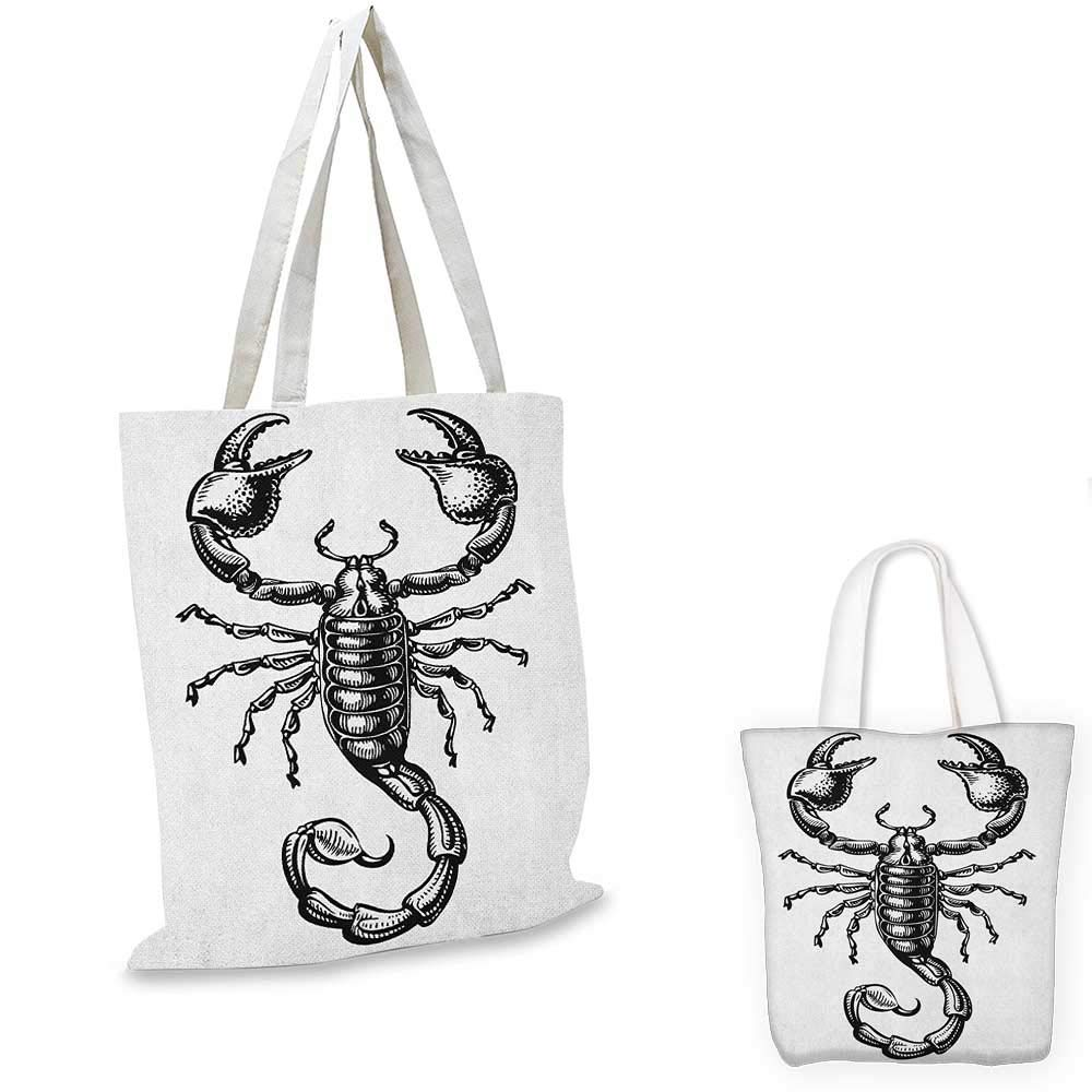 Zodiac Scorpio canvas messenger bag Twelve Signs in a Circle with Scorpion in the Middle Astrology Future canvas beach bag Gold Black White 16x18-13