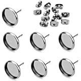40pcs Stainless Steel Blank Stud Earring Bezel Setting for Jewelry Making with 40pcs Surgical Steel Earring Backs DIY…