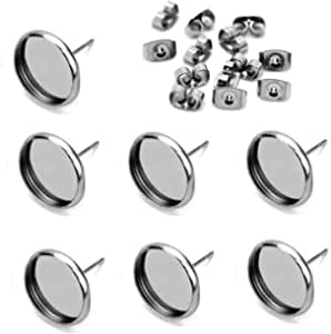 40pcs Stainless Steel Blank Stud Earring Bezel Setting for Jewelry Making with 40pcs Surgical Steel Earring Backs DIY Findings 10mm-40pcs
