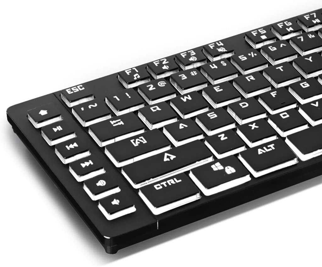 OFNMD Esports Game Soft Tactile Keyboard,Desktop Computer Notebook External USB Cable Metal Film Girl Office Typing Beautiful White LED Backlit QWERTY Key