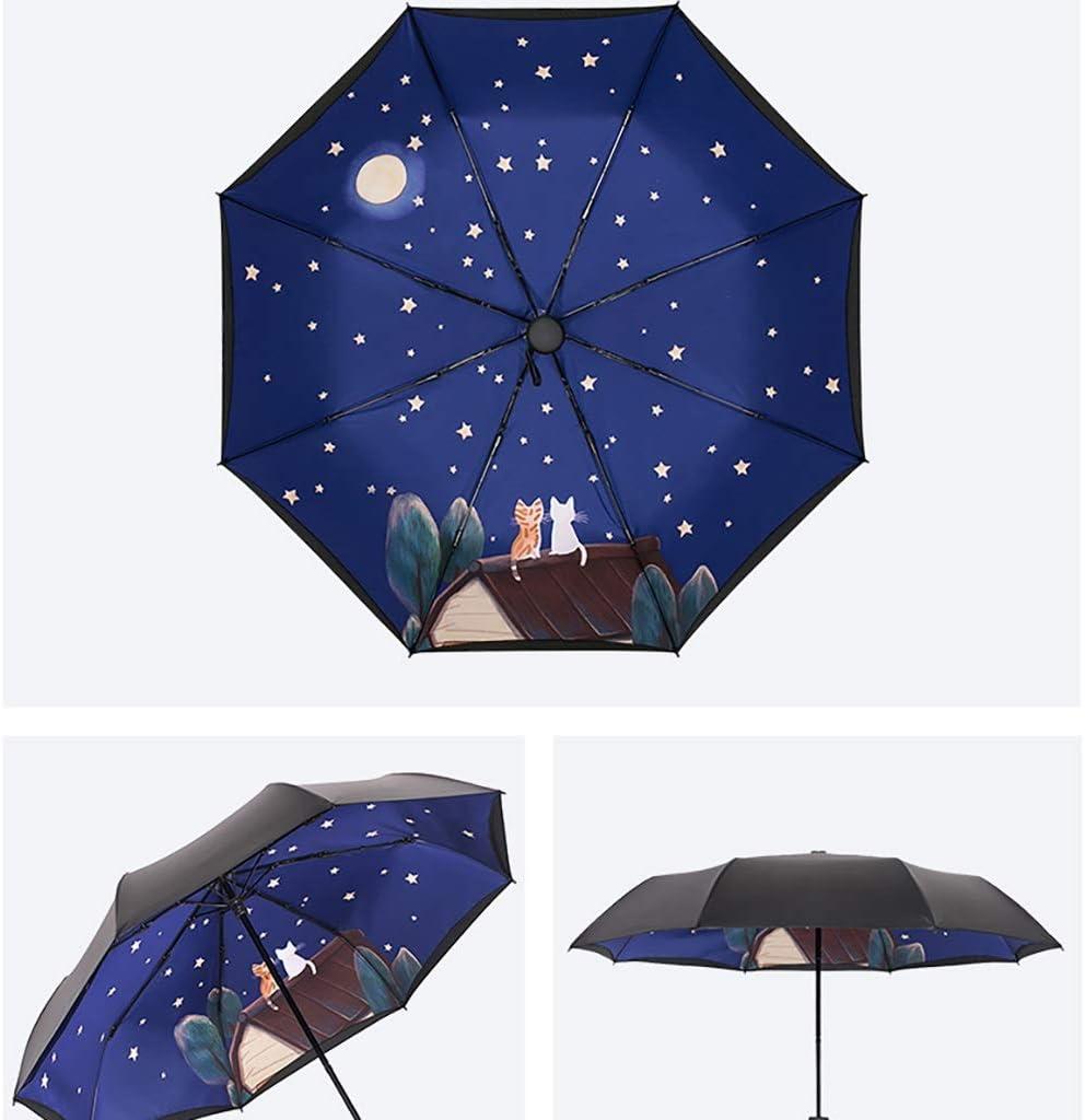 Umbrellas Rain Gear Double Sun Black Glue Sun Protection and UV Protection Creative Fold Pocket Parasol Ultralight Black Student