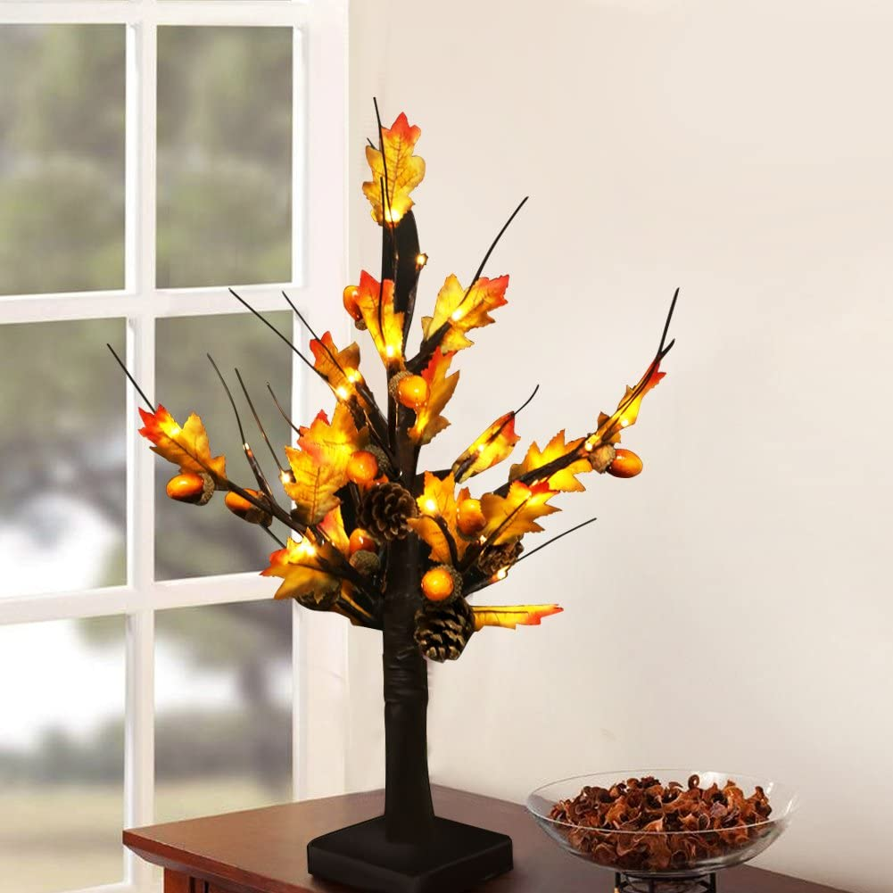 "Bright Zeal 20"" Tall LED Maple Tree Lights Indoor Battery Operated - Thanksgiving Table Top Decorations - Acorns and Pine Cones Decorations - Lighted Tabletop Maple Tree Home Decor"