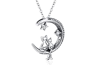 Amazon.com: Collar de plata de ley 925 con colgante de gato ...