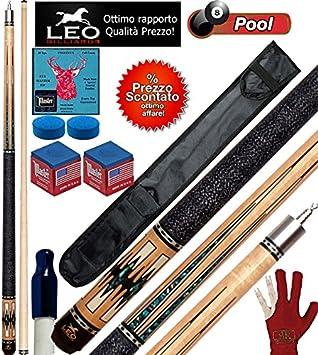 Billar Pool stecche Semi Pro Leo Billiards Star Barton, Taco desmontable, L. cm.147. punta de acero, cuero m.12,8, con vaina Basic 1 + 1, accesorios, recambios y Omaggio.: Amazon.es: Deportes y aire libre