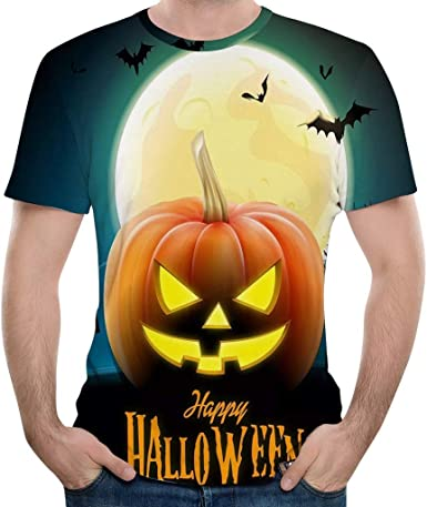 Subfamily Camiseta de Manga Corta con Estampado de Calabaza de Halloween para Hombre Camiseta de Manga Corta con Cuello En V 3D de Calabaza de Halloween Tops Blusas: Amazon.es: Ropa y accesorios