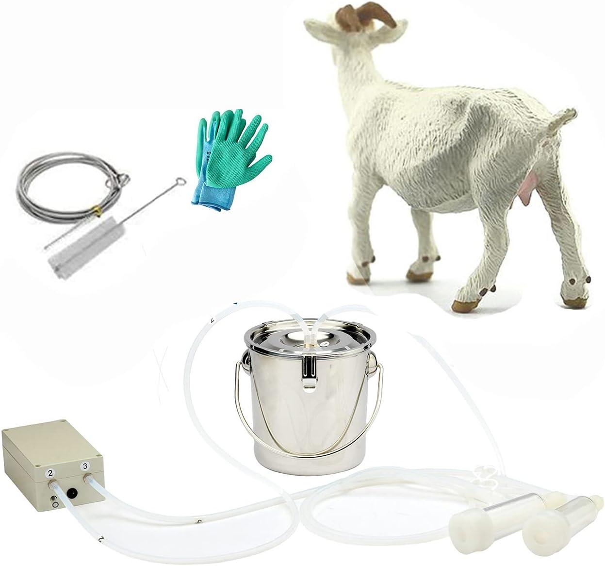 Milking Machine for Goats,Pulsation Vacuum Pump Sheep Milker,Food-Grade Automatic 3L Goat Milking Machine for Jerseys,Nigerian Dwarfs,Nubian Mix,US Standard.(3L, Goat)