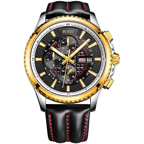BUREI Men's Luminous Chronograph Day and Date Watch with Black Calfskin Band, Gold Bezel Black Dial