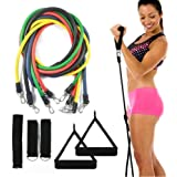 Resistance bands set - 5 tube set with handles, door anchor, ankle straps and carry bag for home fitness / travel fitness / strength