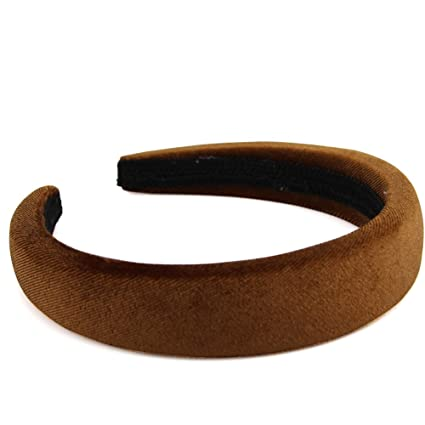 "Qt Girl Womens Padded Headbands 1"" Wide 0.4"" Thick Velvet Alice Band (Light Brown) by Qt Girl"