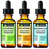 Asutra, 3 Bottle Value Pack, Anti-Aging Serum Set, Includes 20% Vitamin C (1 oz.), 2.5% Retinol (1 oz.), Hyaluronic Acid (1 oz.), Ultra Potent and Effective Skin-Enhancing, FREE E-book Included