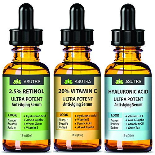 ASUTRA 3 Bottle Value Pack - Anti-Aging Serum Set - 20% VITAMIN C (1oz) | 2.5% RETINOL (1oz) | HYALURONIC ACID (1oz) Best Deal On Amazon + FREE E-Book