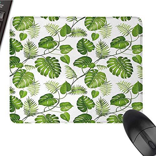 LeafE-Sports Gaming Mouse PadBrazilian Rainforest Foliage Nature Ivy Swirls Palm Banana Trees Leaves Art PrintNonslip Rubber Base 9.8