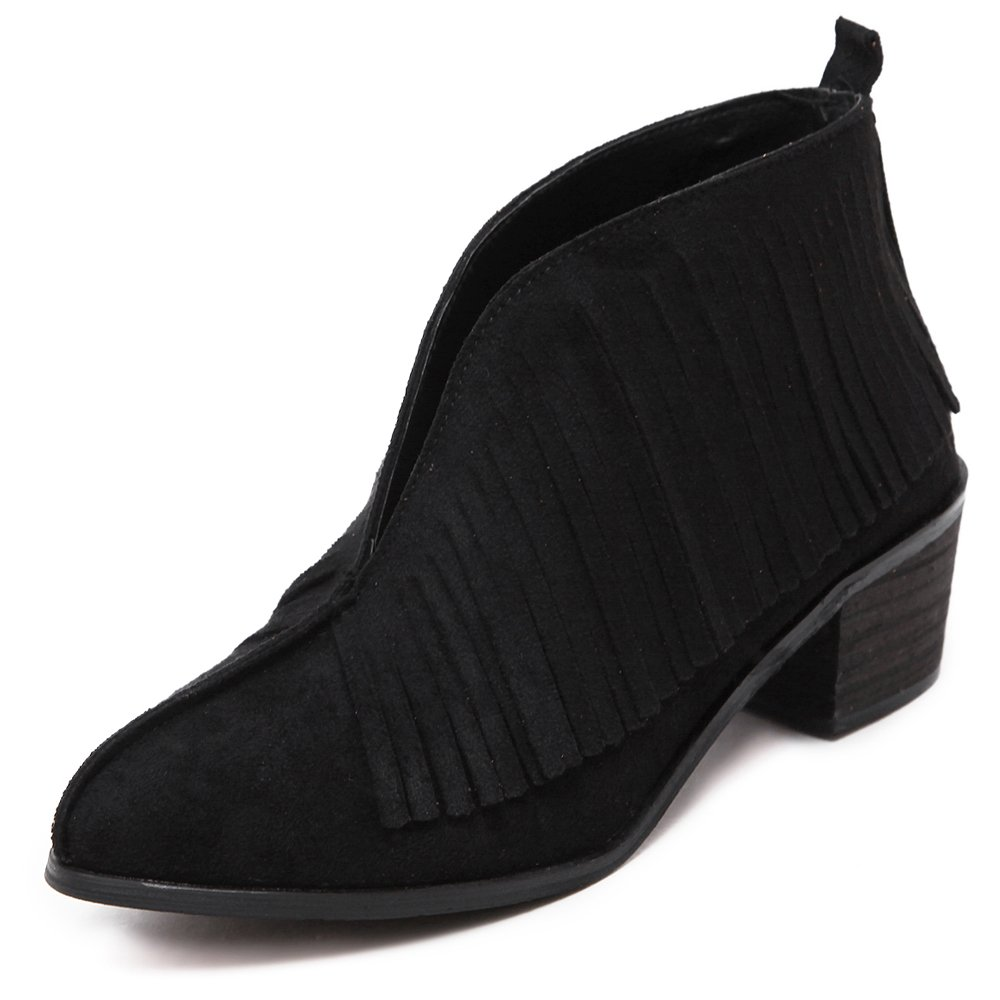 Damen Ferse Kurz Schuhe Scrub Leder Quasten Kurz Ferse Stiefel Schwarz Schwarz e88007