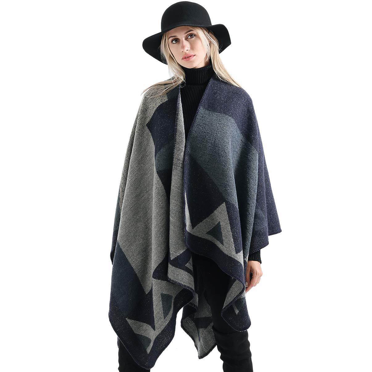 Vbiger Damen Poncho Schal Wrap Farbblock Open Front Cape Übergroße Winterdecke Reversible Schal Dicke Cardigan Coat, Navy