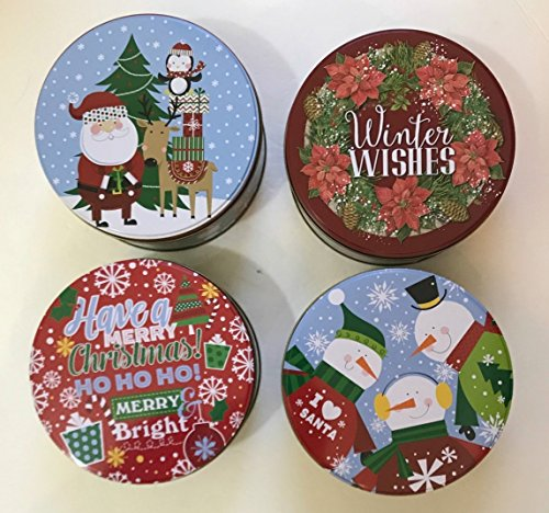 Set of 8 Round Christmas Cookie Holiday Nesting Food Containers Tins - Two of Each 4 Different Designs