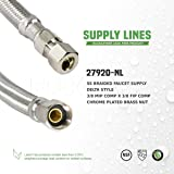 FlexCraft 27612, Delta Faucet Supply Line, Connects Faucet to Water Supply, Faucet Connector With 3/8 MIP x 3/8 In FIP, Braided Stainless Steel 12 In