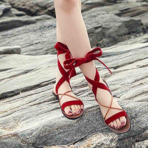 Sandals ZHIRONG Flat Bottom Roman Women's Beach Shoes Comfortable Soft Bottom Casual Strap Shoes (Color : A, Size : EU36/UK3.5/CN35) A