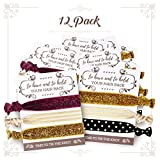 Classy Vintage Bachelorette Wedding Bridal Party Favors Bulk Kit-Set of 12 To Have And To Hold Hair Back Cards For Women | Gold Black Ivory Burgundy Rustic Hair Tie Band Bracelets | Bride & Her Tribe