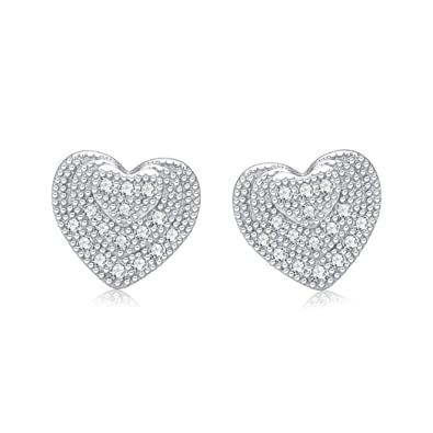 Tuscany Silver Sterling Silver White Crystalique Pave Heart Stud Earrings VmeI42
