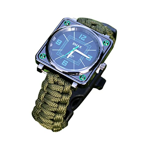 Amazon.com: XGUMAOI Outdoor Survival Kit Paracord Wrist Watches Compass Flint Whistle Bushcraft Gear (Army Green): Cell Phones & Accessories