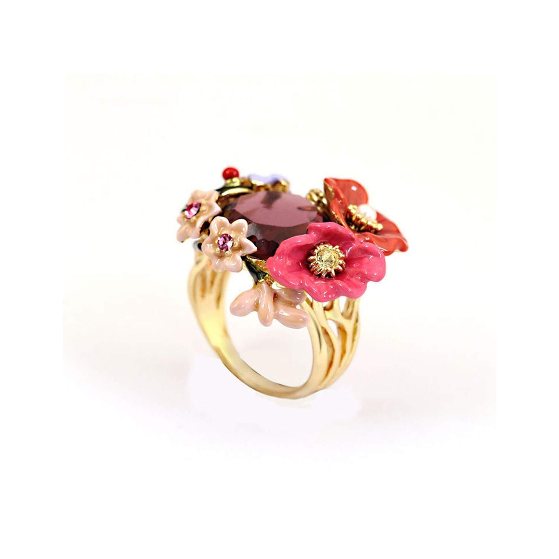 salmoph cadia Winter Garden Series Bohemian Enamel Pink Flower Crystal Ring Prong Stone Ring Woman