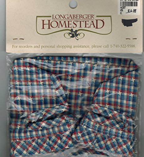 Longaberger Tea Basket Liner in Red / White / Blue Plaid Fabric Stand Up New In (Longaberger Basket Homestead)