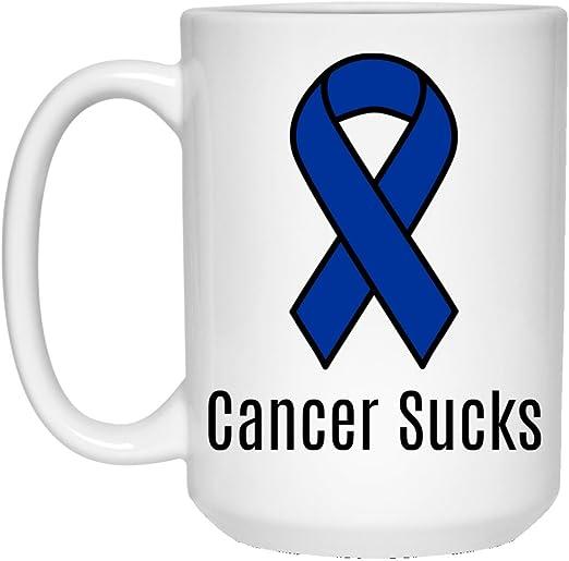 Amazon Com Cancer Sucks Blue Colon Cancer Awareness Ribbon Coffee Mug 15 Oz Blue Coffee Cups Mugs