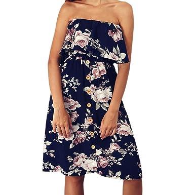 Longra Damen Elegant Ärmellos Maxikleid Blumenmuster Sommerkleid Lang  Schulterfrei Partykleider mit Knopf Frauen Bandeau Bustier Kleider 053debc78e