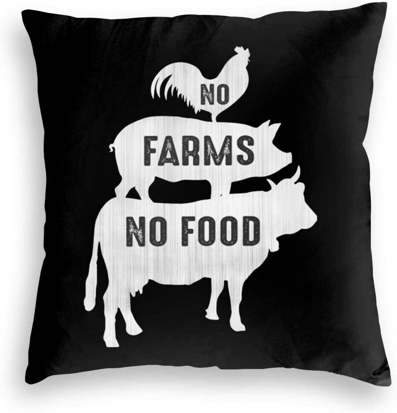 No Farms No Food Square Bed Pillowcase Cushion Cover Sofa Decoration Pillowcase Soft Velvet Cushion Cover