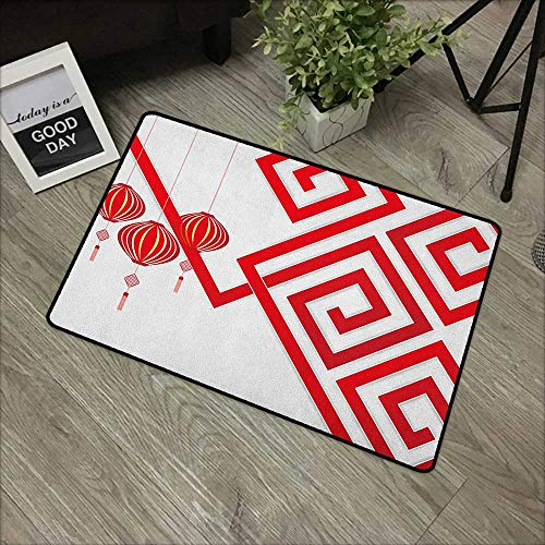 Meeting Room mat W35 x L47 INCH Lantern,Chinese Cultural Elements with Abstract Vortexes Modern Art with Classical Print, White Red with Non-Slip Backing Door Mat - Tibetan Chinese Carpet