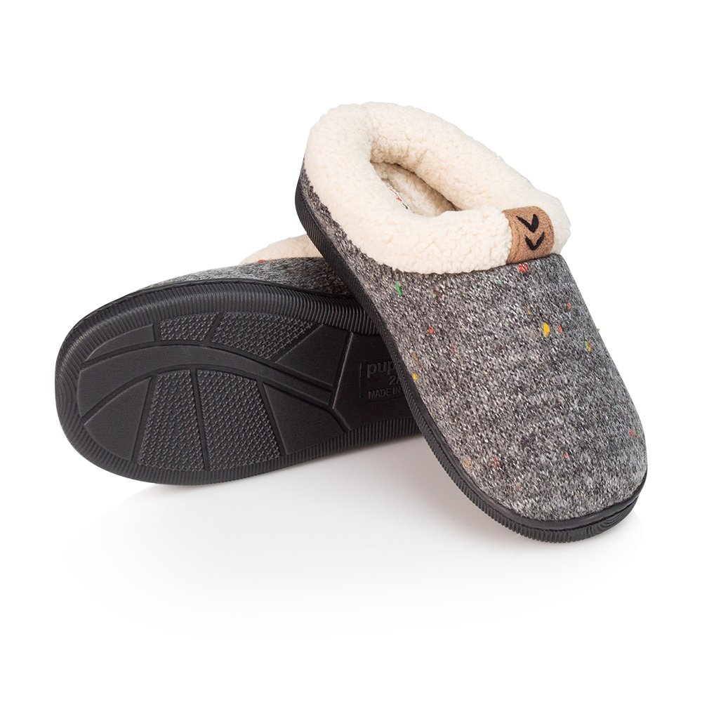 Pupeez Girls Cozy Warm Sweater Knitted Slipper; A Luxury Style Kids House Shoe with Rubber Sole