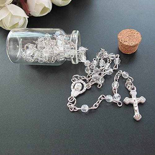 Baptism Favor (12PCS) Holy Communion Rosary in Glass Bottle Jar Recuerdos De Bautizo Quinceanera Christening Recuerdos para Primera Comunion Niña Niño Quinceanera/Gift for Guests