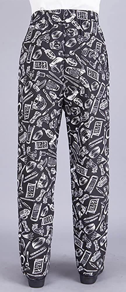 Qzunique Unisex Elastic Stripe Chef Pants Floral Restaurant