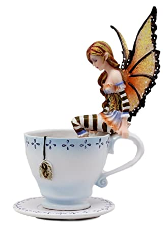 Ebros Gift Amy Brown Teacup Mocha Coffee Fairy Figurine Whimsical Faerie Figure 6.5 H Statue Decor Pixies Sprites Fairies and Magic