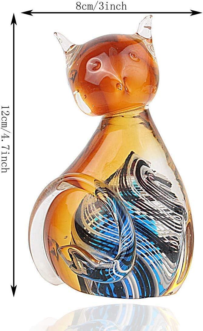 MICG Amber Art Figurine de Chat en Verre souffl/é /à la Main