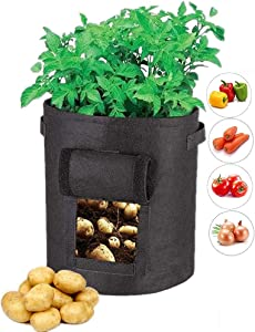GEMGO 3 Pack Potato Grow Bag, 7 Gallon Aeration Waterproof Fabric Sweet Potato Planter, Velcro Window Vegetable Peanut Growing Box Bucket Pot for Nursery Garden (3 Pack, Black)