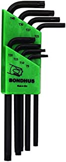 product image for Bondhus 32434 Set of 8 Tamper Resistant Star L-wrenches,Long,sizes TR9-TR40