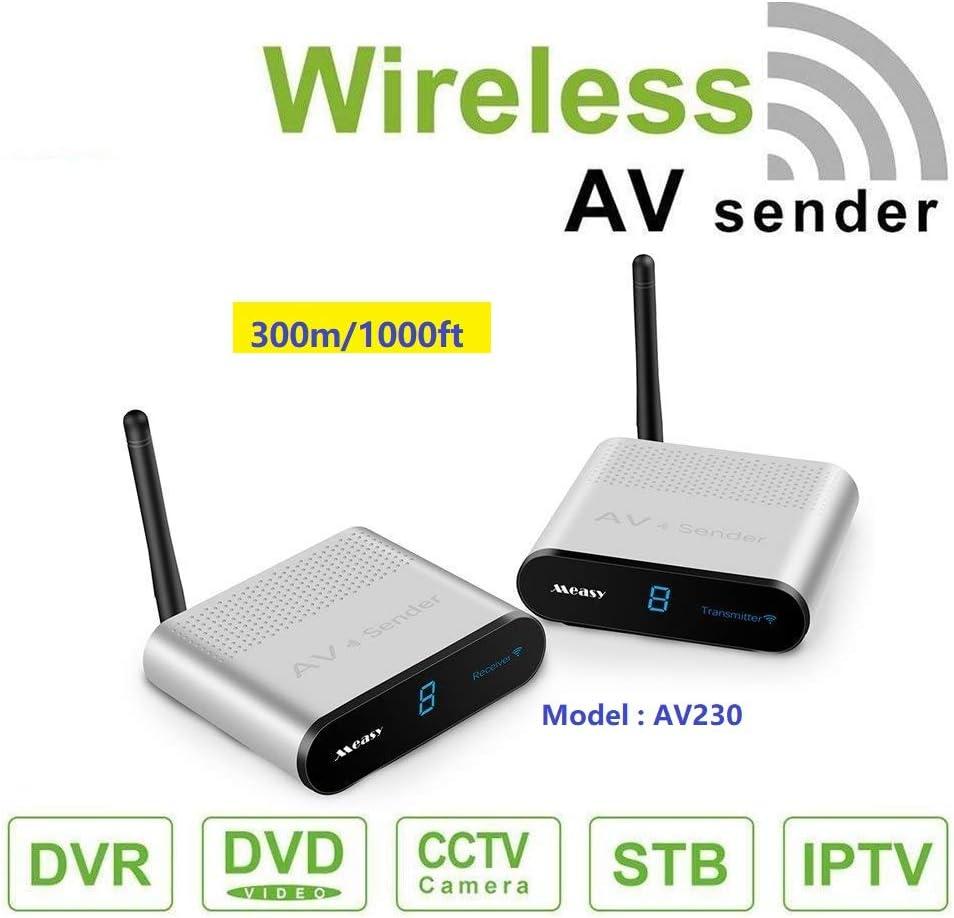 MEASY AV230 2.4GHz 8 Canales transmisor y Receptor AV inalámbrico RCA transmisor y Receptor de hasta 300 m / 660 ft con Control Remoto IR  función