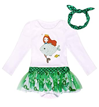 58f9963a3d20 AmzBarley Princess Snow White Little Mermaid Anna Unicorn Romper Suits Outfit  Baby Girl Toddlers Bodysuit Costume Fancy Dress Photo Shoot Clothes  ...