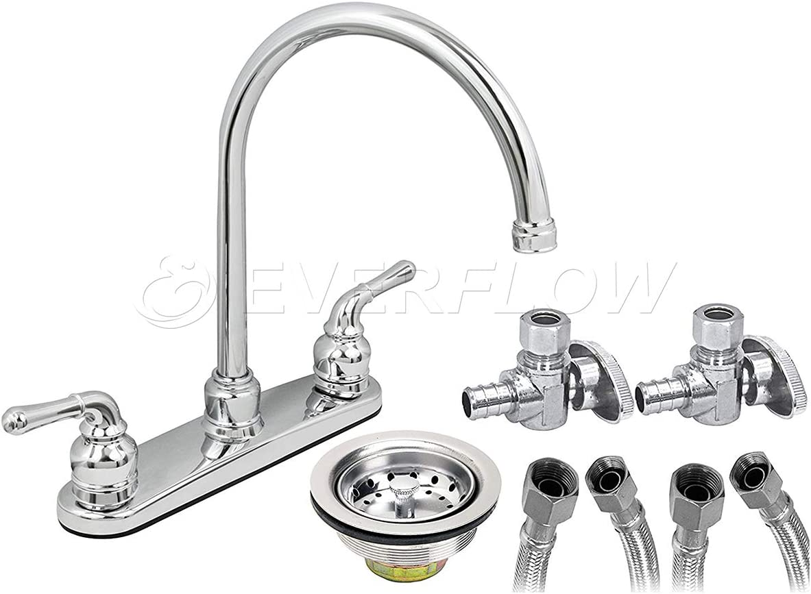 EverFlow Two Handle Kitchen Faucet Complete Installation Kit Chrome Plated Finish KFKT17187-20P, with 20 Supply Lines 1 4 Turn PEX Angle Stops and Stainless Steel Sink Strainer Lead-Free Construction