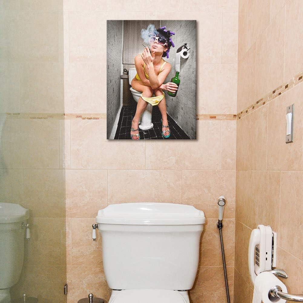 KINYNE Baño De Moda Mujer Sexy Cuadro sobre Lienzo Moderno Bar Girl Fumando Y Bebiendo En El Baño Cuadro De La Imagen del Cartel para El Hotel Hotel Decoración De Pared,A,50X60cm