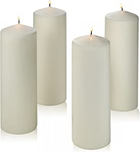 Light In The Dark Set of 4 White Pillar Candles – Unscented - 9 inch Tall 3 inch Thick - 72 Hour Burn Time – Used for Lanterns, Hurricanes and Wedding Centerpieces