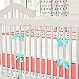 Carousel Designs Coral and Teal Arrow Crib Bumper