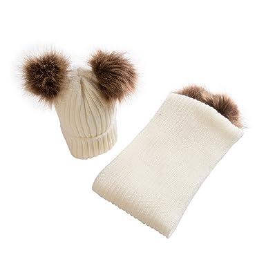 Rameng- Bonnet Hiver Bebe Garcon Fille Chaud Chapeau Beanie Pompom avec  Echarpe (Beige) fa66840f0d0