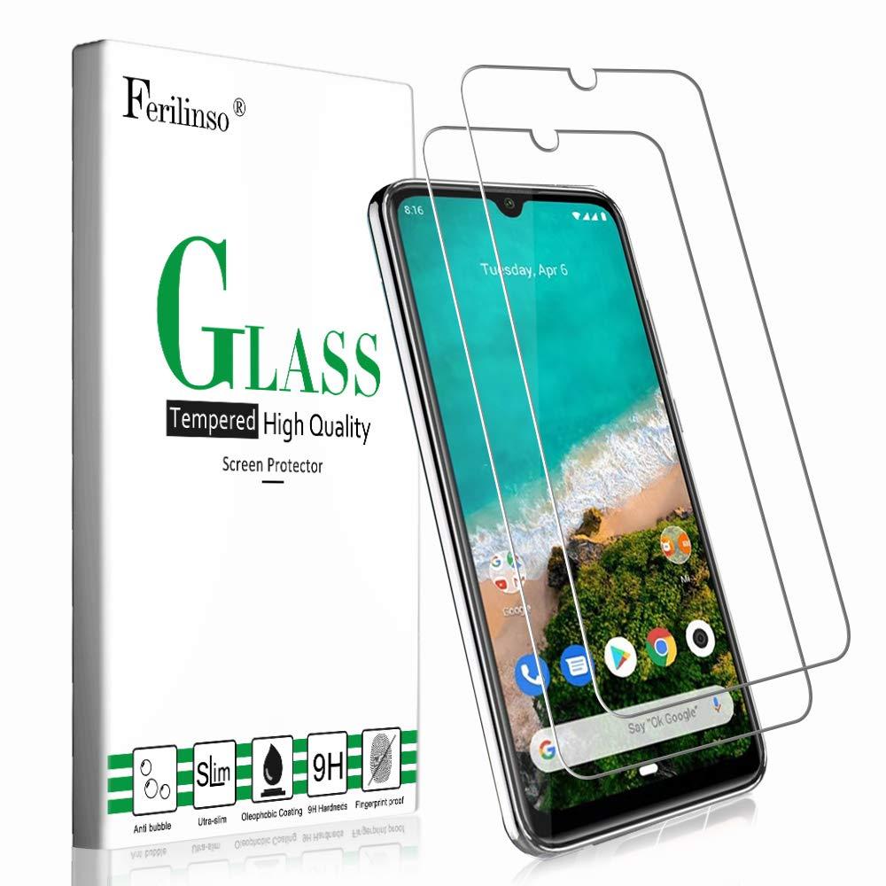 Ferilinso Cristal Templado para Xiaomi Mi A3 Cristal Templado, Protector de Pantalla Screen Protector con garant/ía de reemplazo de por Vida para Cristal Templado Xiaomi Mi A3 2 Pack