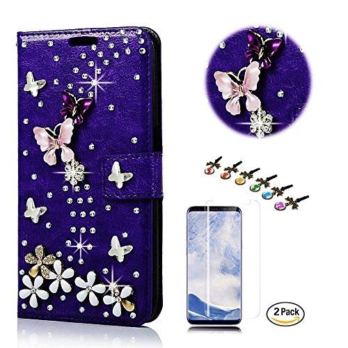 STENES Google Pixel 2 Case - STYLISH - 3D Handmade Bling Crystal S-Link Butterfly Floral Design Wallet Credit Card Slots Fold Media Stand Leather Cover Case With Screen Protector - Dark Purple by STENES