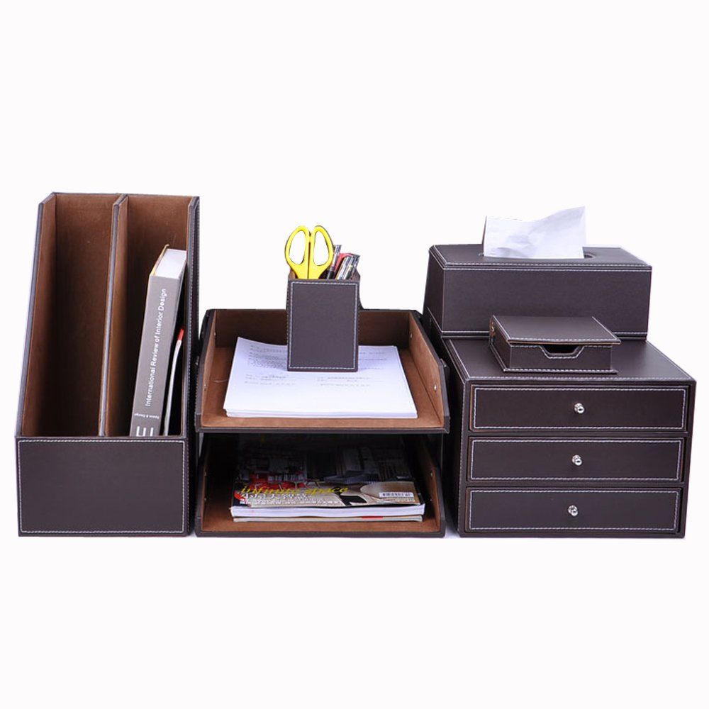 Luckymoo 6pc Leatherette Office Desk Organizer Set Tray Card Note & Pen Holders (Brown)