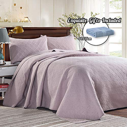 Cotton World Li 3 Piece Bedspread Set King Premium Oversized Quilt Set King Thermal Bed Cover Elegant Luxury Coverlet Comfortable & Lightweight - Wrinkle & Fade Resistant (Light Pink, King)