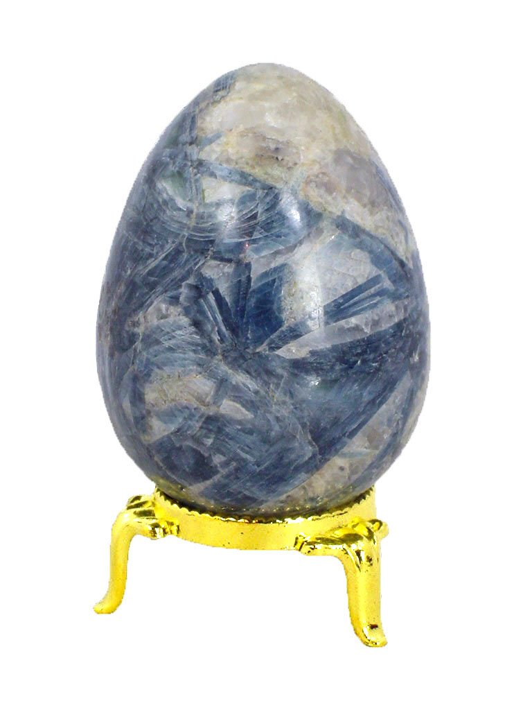 Kyanite Stone Healing Egg 63mm x 64mm Reiki Activated Lapidary with Stand